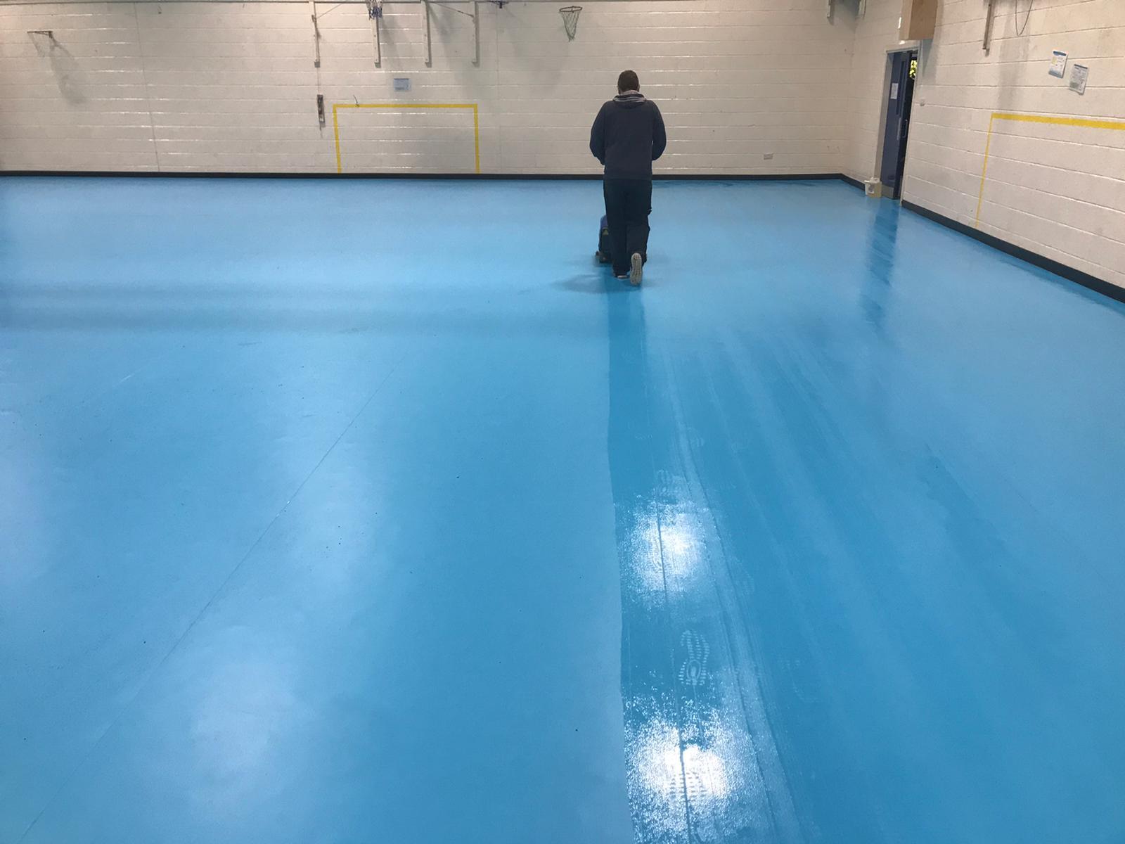 sports floor mechanical deep clean and maintenance
